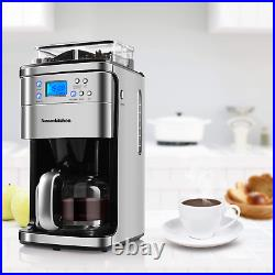 10 Cup Programmable Coffee Maker e With Burr Conical Grinder, Grind & Brew Coffe