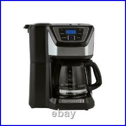 12-Cup Programmable Stainless Steel Drip Coffee Maker with Built-In Grinder