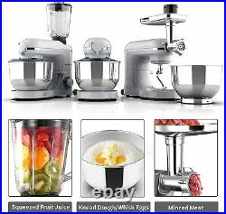 3 in 1 Stand Mixer Meat Grinder Juice Extractor Silver Tilt-Head with 7QT Bowl