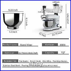 3 in 1 Stand Mixer Tilt-Head 7QT Bowl Grinder Blender 850W Silver 6 Speed