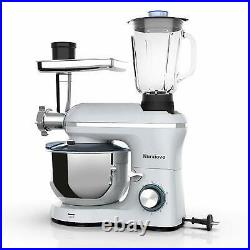 3 in 1 Stand Mixer Tilt-Head with7QT Bowl 6 Speed 850W Meat Grinder Blender Silver
