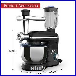 3 in 1 Stand Mixer Tilt-Head with7QT Bowl 6 Speeds 850W Meat Grinder Blender Black