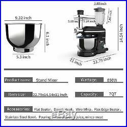 3 in 1 Tilt-Head Stand Mixer with7QT 850W Bowl 6 Speeds Meat Grinder Blender Black