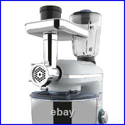 3 in 1 Tilt-Head Stand Mixer with7QT Bowl 6 Speed 850W Meat Grinder Blender Silver