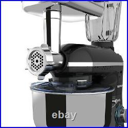 3 in 1 Tilt-Head Stand Mixer with7QT Bowl 6 Speeds 850W Meat Grinder Blender Black