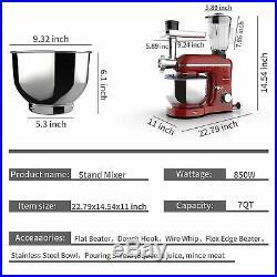 3IN1 6 Speeds 850W Tilt-Head Stand Mixer with 7QT Bowl Meat Grinder Blender Red