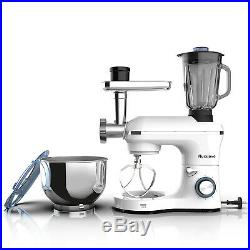 3in1 850W 6 Speeds Tilt-Head Stand Mixer+Meat+Grinder Blender with 7QT Bowl White