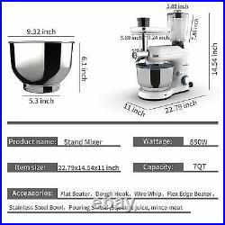 3in1 850W 6 Speeds Tilt-Head Stand Mixer Meat Grinder Blender with7QT Bowl White