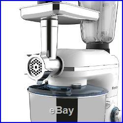 3in1 850W Stand Mixer with7QT Tilt-Head Bowl 6 Speeds Meat Grinder Blender White