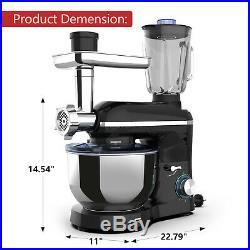 850W 3 in 1 Tilt-Head Stand Mixer with7QT Bowl 6 Speeds Meat Grinder Blender Black