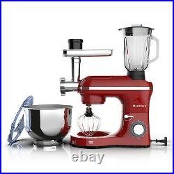 850W 6 Speed Stand Mixer 3 in 1 Tilt-Head with 7QT Bowl Meat Grinder Blender Red