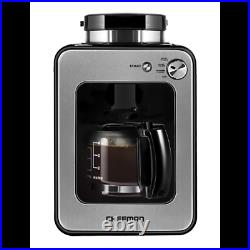 Chefman Grind and Brew 4-Cup Compact Coffee Maker and Grinder, Stainless Steel