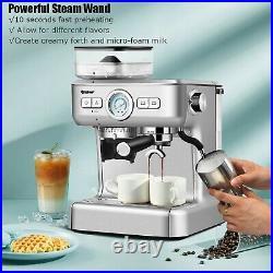 Costway Espresso Cappucino Machine Coffee Maker Stainless Steel with Grinder & Ste