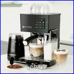Espresso Machine Latte Cappuccino Maker 19Bar Milk Steamer & Coffee Bean Grinder
