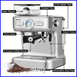 Espresso Maker Cappucino Machine Coffee Stainless Steel with Grinder & Steam Wand