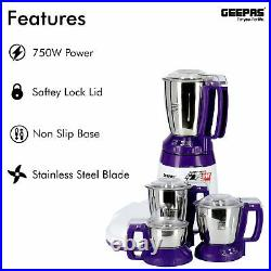 Geepas 3-in-1 Wet Dry Grinder Indian Mixer Blender Curry Spices Coconut Milling