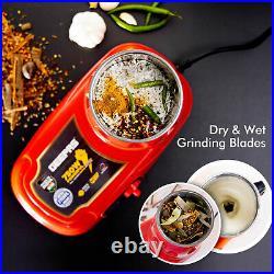 Geepas Wet Dry Mixer Grinder Blender Milling Bean Nut & Masala Indian Spice New