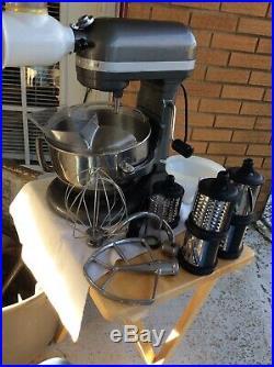 Kitchen Aid Pro 600 Professional Series Mixer 6 Quart Silver chop Grinder grader