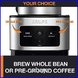 Krups Personal Café Grind & Brew Drip Coffee Maker Stainless Steel Burr Grinder