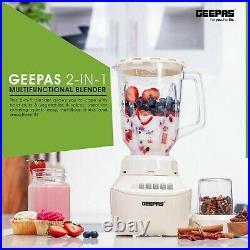 Large Geepas 2 in 1 Food Blender 4 Speeds Chopper Grinder Smoothie Maker 1.5L