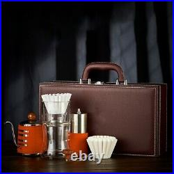 Leather Retro Coffee Kit Cold Drip, Manual Coffee Grinder, Steel Kettle + Case