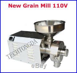 New 110V Commercial Stainles Steel Grain Grinder Hammer Mill Grinding Mahcine