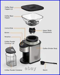 Sboly Electric Burr Grinder Auto-off Turkish Coffee Makers Stainless Steel