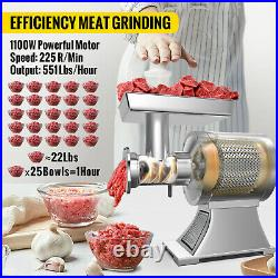 VEVOR Commercial 1100W Electric Meat Grinder 550lbs/h Meat Mincer Heavy Duty
