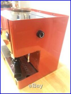 Vintage Italy Espresso Cappuccino Red Orange Coffee Machine And Grinder